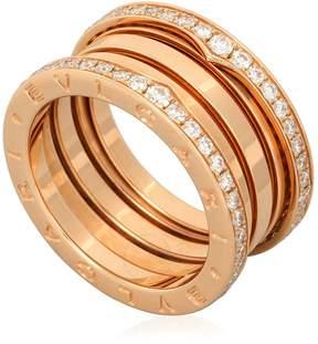 Bvlgari B.Zero1 18K Pink Gold 4-Band Diamond Pave Ring Size