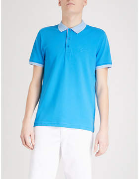 BOSS GREEN Striped-trim cotton-blend polo shirt