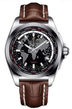 Breitling Galactic Unitime Black Dial Brown Leather Men's Watch WB3510U4-BD94BRCD