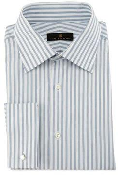 Ike Behar Bold-Stripe Dress Shirt, Gray/White