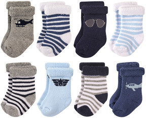 Hudson Baby Aviator Rolled-Cuff Eight-Pair Crew Socks Set - Infant