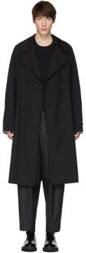 Yang Li Black Contrast Sleeves Trench Coat