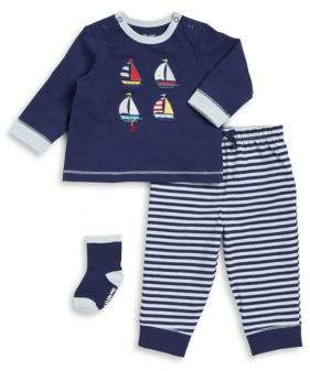 Little Me Baby Boy's Three-Piece Sailboat Top, Pants, and Socks Set