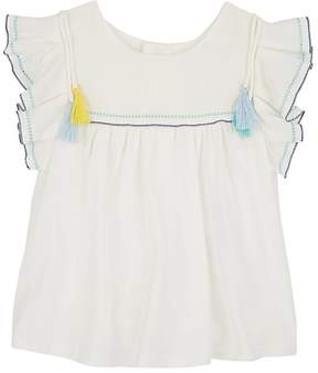 Chloé INFANTS' TASSELED COTTON-BLEND TOP