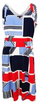 Tommy Hilfiger Women's Colorblocked Shoulder-Tie Dress (6, Blue/Red Multi)
