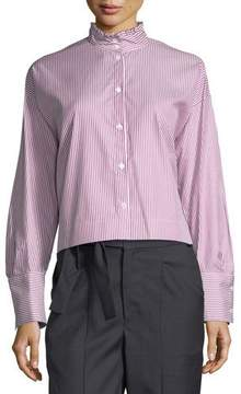 Atlantique Ascoli Romane Striped Ruffle-Neck Blouse