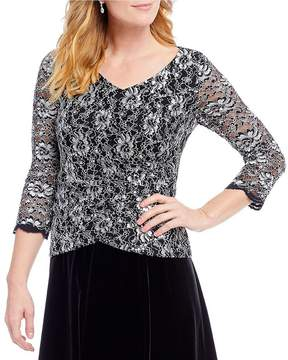 Alex Evenings 3/4 Lace V-Neck Tulip Hem Blouse