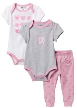 DKNY City Set Heart Pattern Bodysuits and Leggings (Baby Girls 12-24M)