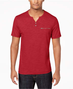 INC International Concepts I.n.c. Men's Chambers Heathered Split-Neck T-Shirt, Created for Macy's