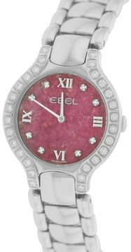 Ebel Beluga E9157428-20 Stainless Steel wDiamond Red Dial Quartz 27mm Womens Watch