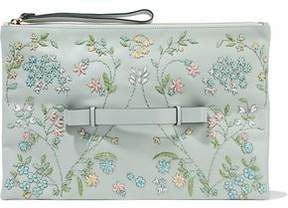 RED Valentino Bead-Embellished Embroidered Leather Clutch
