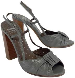 Moschino Cheap & Chic Grey Patent Leather Sandal Heels