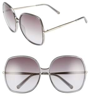 Chloé Women's 62Mm Oversized Gradient Lens Square Sunglasses - Dark Grey