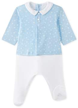 Petit Bateau BABY BOYS DUAL-FABRIC SAILOR TOP COVERALL