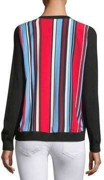 Neiman Marcus Cashmere Striped-Back Cardigan