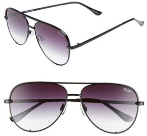 Quay Women's X Desi Perkins High Key Mini 57Mm Aviator Sunglasses - Black/ Fade To Clear