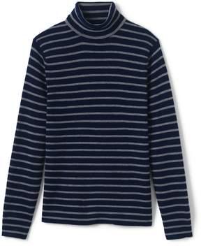 Lands' End Lands'end Men's Stripe Rib Merino Turtleneck Sweater
