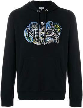 Kenzo paisley logo embroidered hoodie