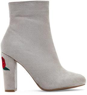 Wild Diva Grey Blossom Embroidered Block Heel Booties