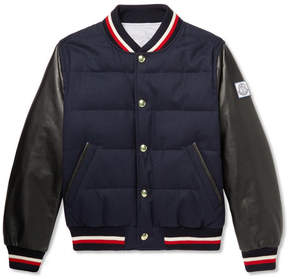 Moncler Gamme Bleu Quilted Wool And Leather Down Bomber Jacket