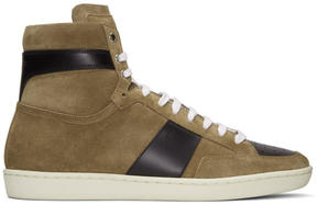 Saint Laurent Brown Suede SL-10H Court Classic High-Top Sneakers