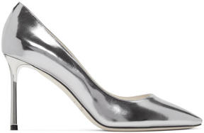 Jimmy Choo Silver Mirrored Romy Heels