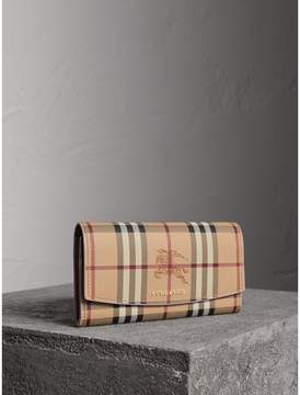 Burberry Haymarket Check and Leather Slim Continental Wallet
