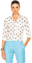 Victoria Beckham Daisy Print Blouse in Floral,White.