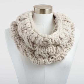 World Market Oatmeal Chunky Knit Snood Scarf