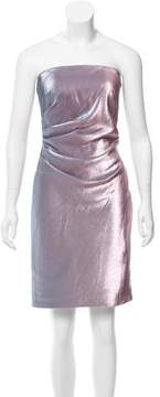 Theia Metallic Strapless Dress