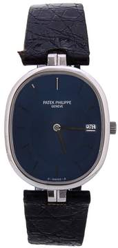 Patek Philippe 3930 Elipse Stainless Blue Dial Date Deployment Buckle Leather Watch