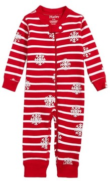 Hatley Infant Candy Cane Waffle Knit Organic Cotton Fitted One-Piece Pajamas