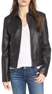 Bernardo Women's Front Zip Leather Moto Jacket