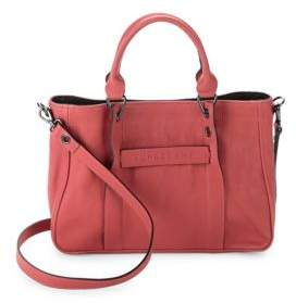 Longchamp Top Snap Leather Satchel - PINK - STYLE