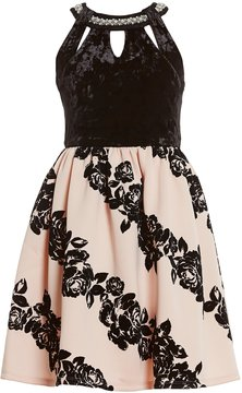 Xtraordinary Big Girls 7-16 Solid/Flocked Fit-And-Flare Dress
