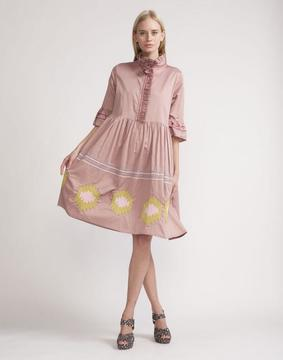 Cynthia Rowley Mauve Polished Cotton Embroidered Dress