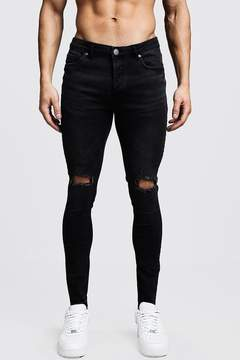 boohoo Black Skinny Fit Ripped Knee Jeans