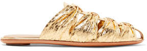 The Row Capri Metallic Elaphe Slippers - Gold