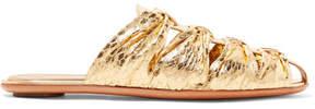 The Row Capri Metallic Elaphe Slippers - Gold