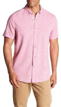 Report Collection Short Sleeve Slim Fit Linen Striped Shirt