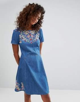 Esprit Espirit Floral Embroidered Denim Skater Dress