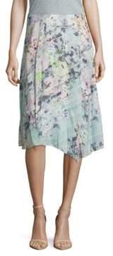 Basler Floral-Print Asymmetric Skirt