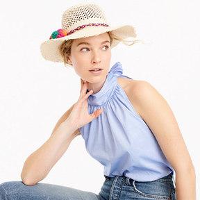 J.Crew Straw hat with rainbow pom-poms