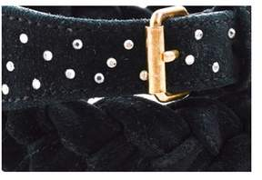Sonia Rykiel Pre-owned Black Leather Suede Braided Rhinestone Embellished Belt Sz 1.
