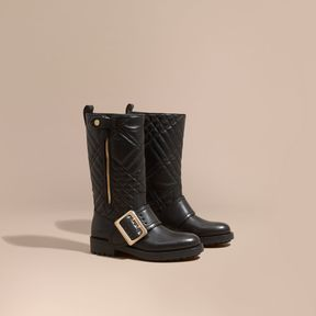 Burberry Buckle Detail Check Quilted Leather Boots