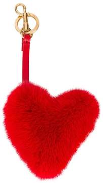 Anya Hindmarch Red Fur heart bag charm