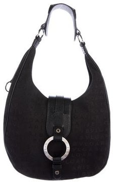 Bvlgari Leather-Trimmed Canvas Hobo