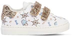 MonnaLisa Donald Duck Faux Leather Strap Sneakers