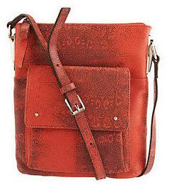 As Is B. Makowsky Leather Zip Top Crossbody Bag