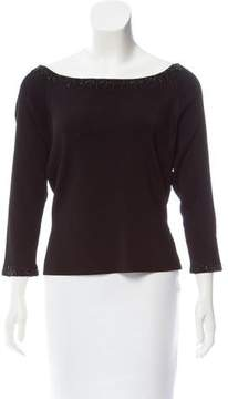 Carmen Marc Valvo Embellished Knit Top w/ Tags